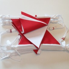 Red and White Fabric Bunting 10m